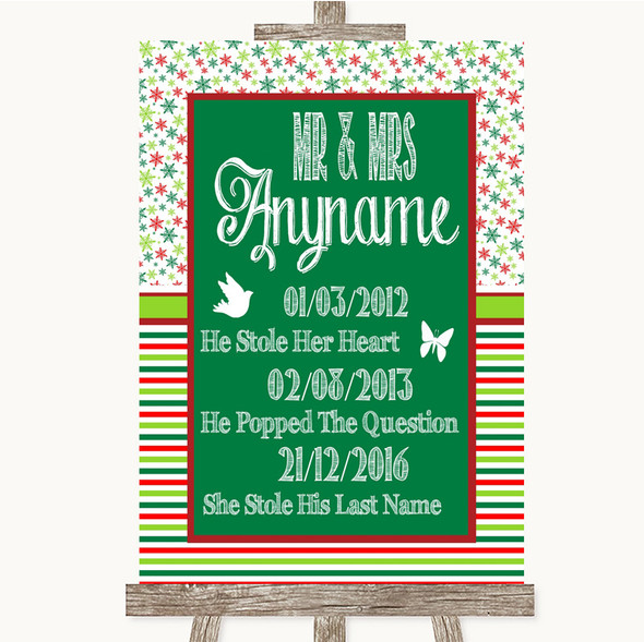 Red & Green Winter Important Special Dates Personalised Wedding Sign