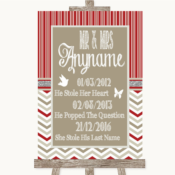 Red & Grey Winter Important Special Dates Personalised Wedding Sign