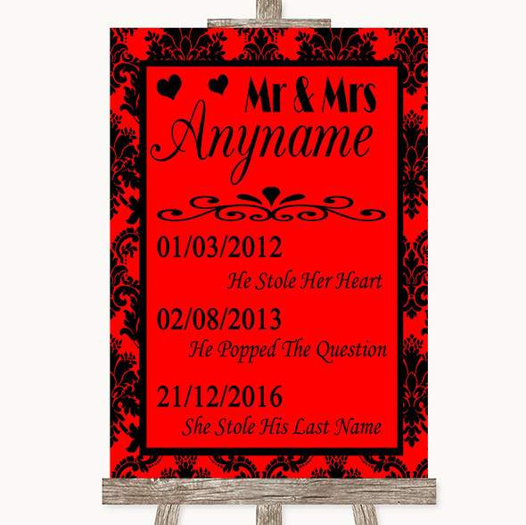 Red Damask Important Special Dates Personalised Wedding Sign