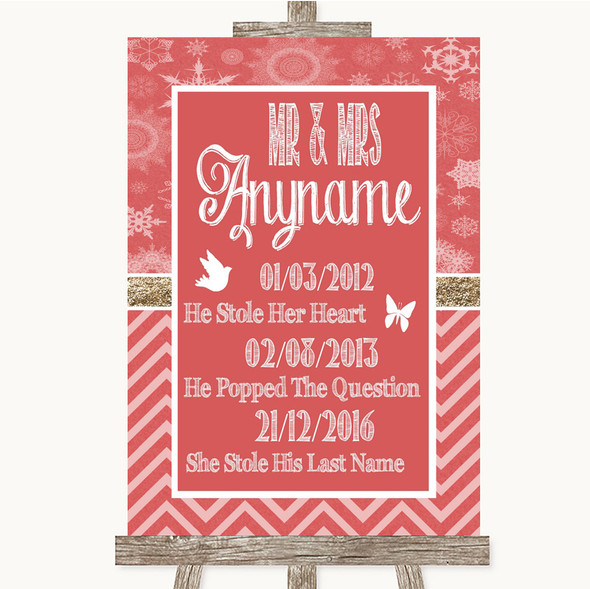 Red Winter Important Special Dates Personalised Wedding Sign