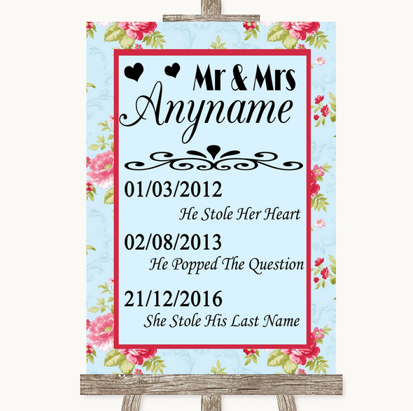 Shabby Chic Floral Important Special Dates Personalised Wedding Sign
