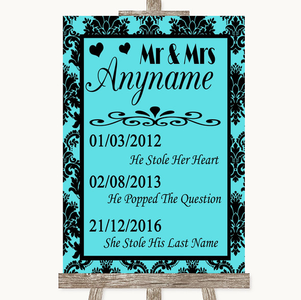 Tiffany Blue Damask Important Special Dates Personalised Wedding Sign