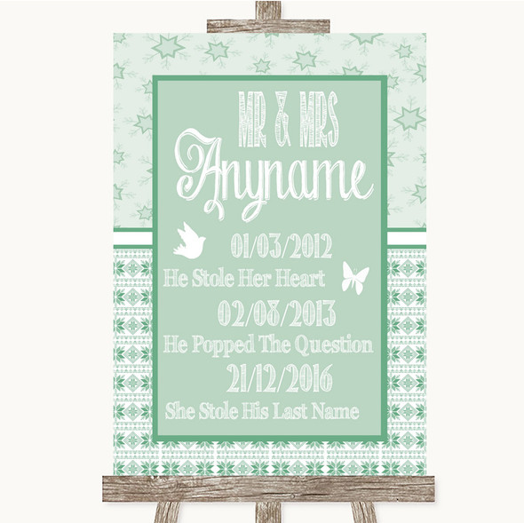Winter Green Important Special Dates Personalised Wedding Sign