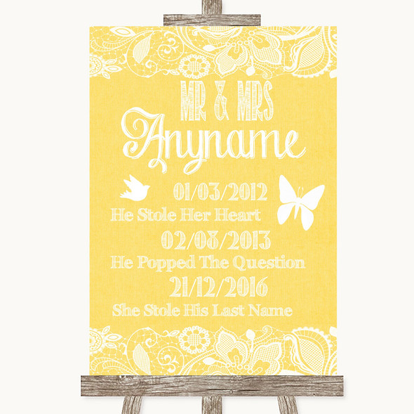 Yellow Burlap & Lace Important Special Dates Personalised Wedding Sign