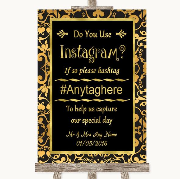 Black & Gold Damask Instagram Photo Sharing Personalised Wedding Sign