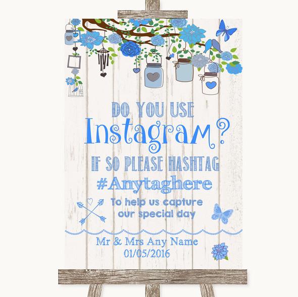 Blue Rustic Wood Instagram Photo Sharing Personalised Wedding Sign