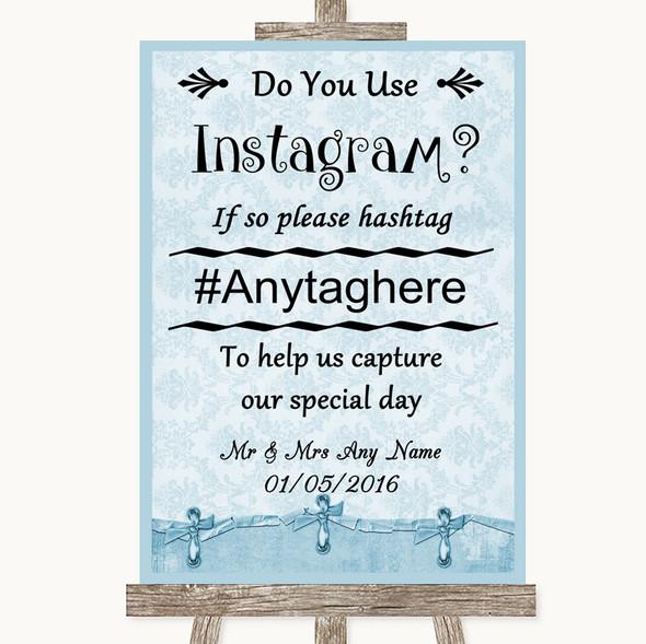 Blue Shabby Chic Instagram Photo Sharing Personalised Wedding Sign