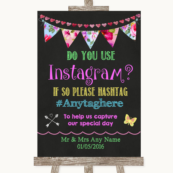 Bright Bunting Chalk Instagram Photo Sharing Personalised Wedding Sign