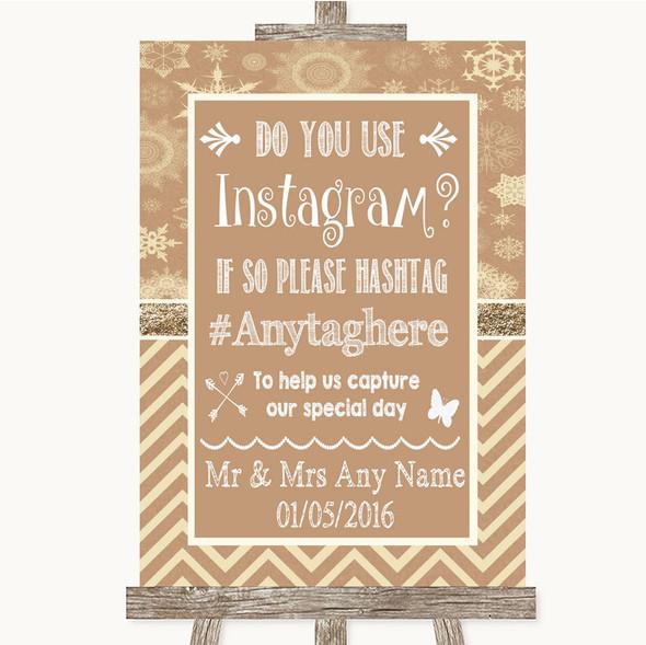 Brown Winter Instagram Photo Sharing Personalised Wedding Sign