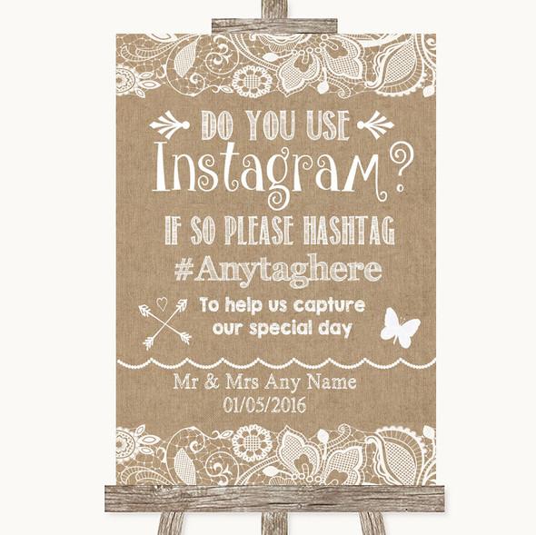 Burlap & Lace Instagram Photo Sharing Personalised Wedding Sign