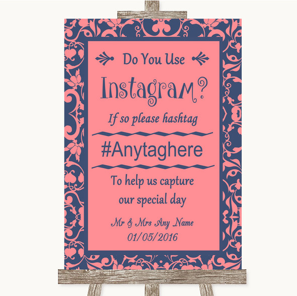 Coral Pink & Blue Instagram Photo Sharing Personalised Wedding Sign