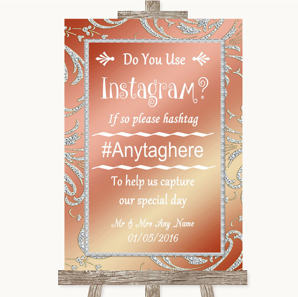 Coral Pink Instagram Photo Sharing Personalised Wedding Sign