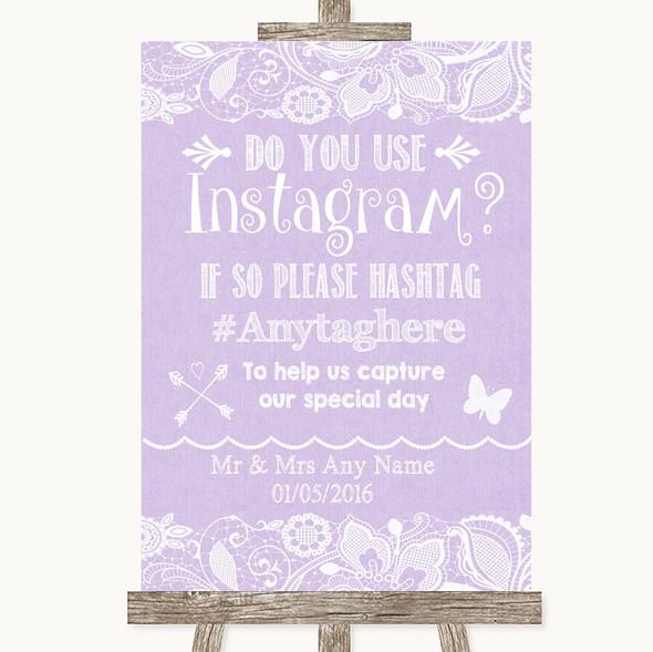 Lilac Burlap & Lace Instagram Photo Sharing Personalised Wedding Sign