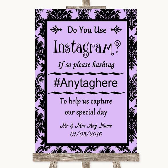 Lilac Damask Instagram Photo Sharing Personalised Wedding Sign