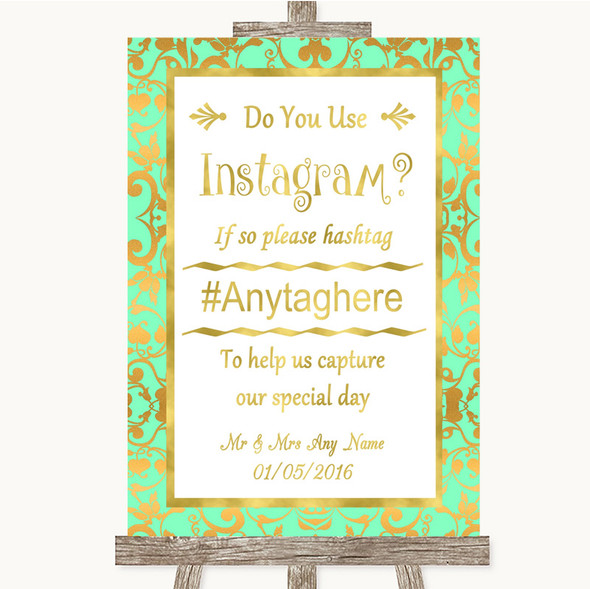 Mint Green & Gold Instagram Photo Sharing Personalised Wedding Sign