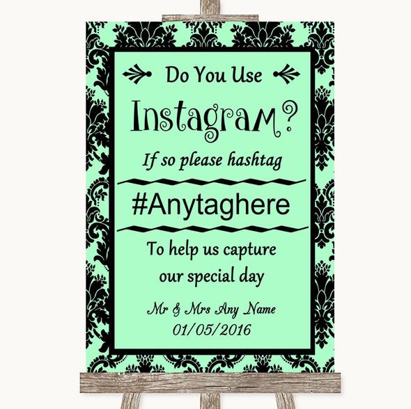 Mint Green Damask Instagram Photo Sharing Personalised Wedding Sign
