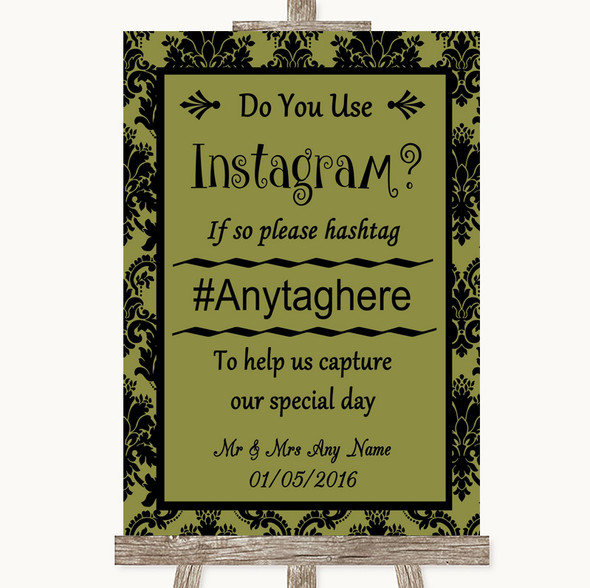 Olive Green Damask Instagram Photo Sharing Personalised Wedding Sign
