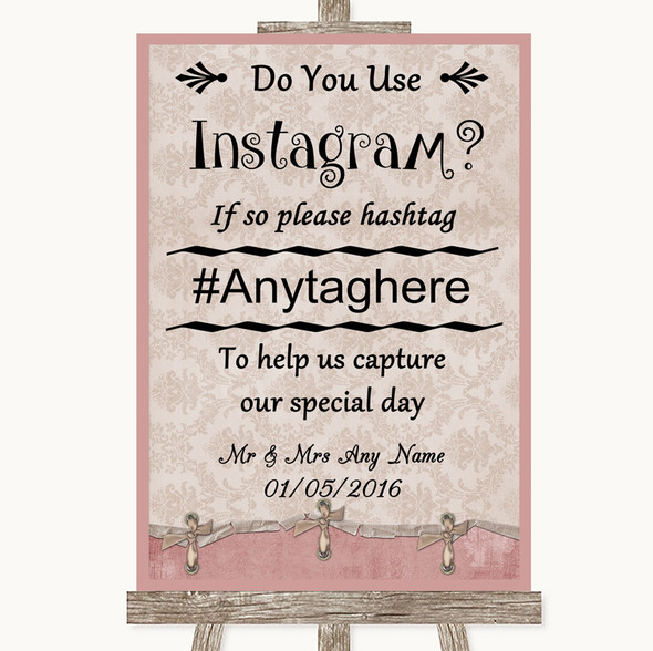 Pink Shabby Chic Instagram Photo Sharing Personalised Wedding Sign