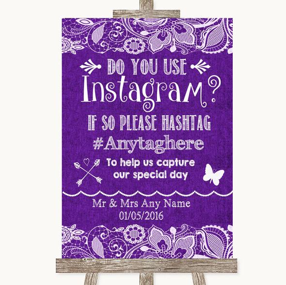 Purple Burlap & Lace Instagram Photo Sharing Personalised Wedding Sign