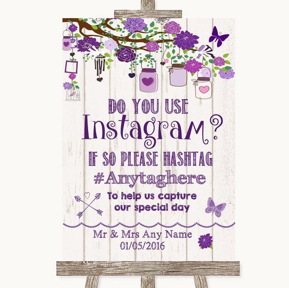 Purple Rustic Wood Instagram Photo Sharing Personalised Wedding Sign