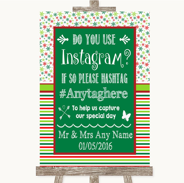 Red & Green Winter Instagram Photo Sharing Personalised Wedding Sign