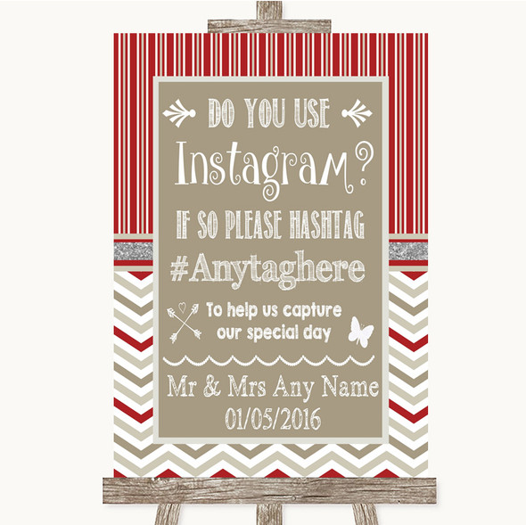 Red & Grey Winter Instagram Photo Sharing Personalised Wedding Sign