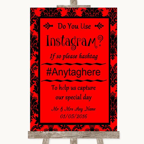 Red Damask Instagram Photo Sharing Personalised Wedding Sign