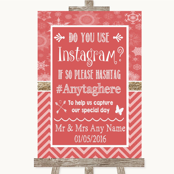 Red Winter Instagram Photo Sharing Personalised Wedding Sign