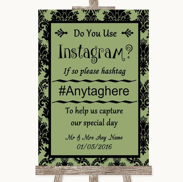 Sage Green Damask Instagram Photo Sharing Personalised Wedding Sign