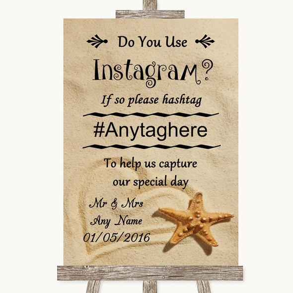 Sandy Beach Instagram Photo Sharing Personalised Wedding Sign