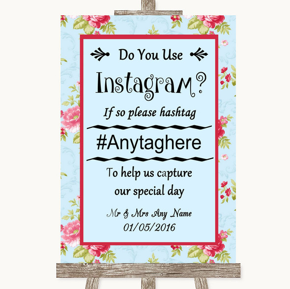 Shabby Chic Floral Instagram Photo Sharing Personalised Wedding Sign