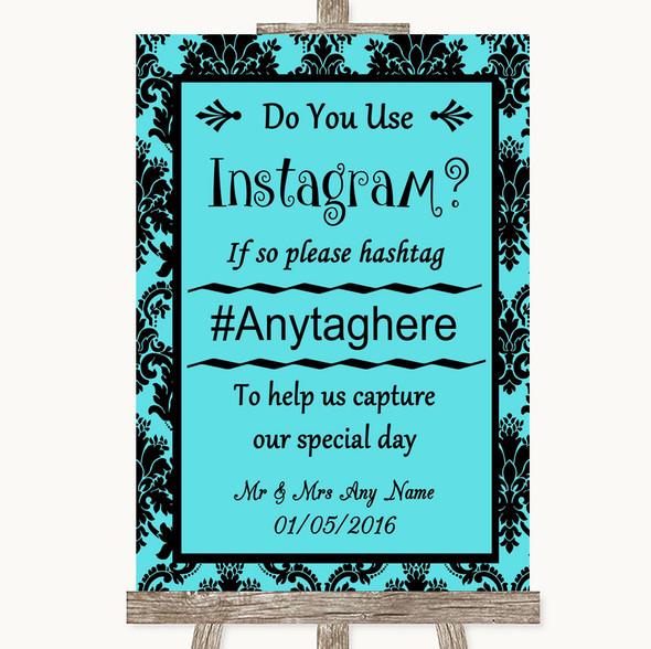 Tiffany Blue Damask Instagram Photo Sharing Personalised Wedding Sign