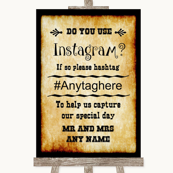 Western Instagram Photo Sharing Personalised Wedding Sign