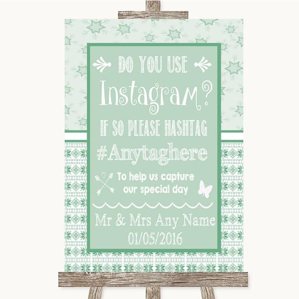 Winter Green Instagram Photo Sharing Personalised Wedding Sign