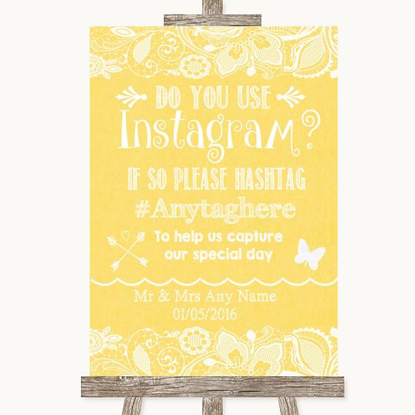 Yellow Burlap & Lace Instagram Photo Sharing Personalised Wedding Sign