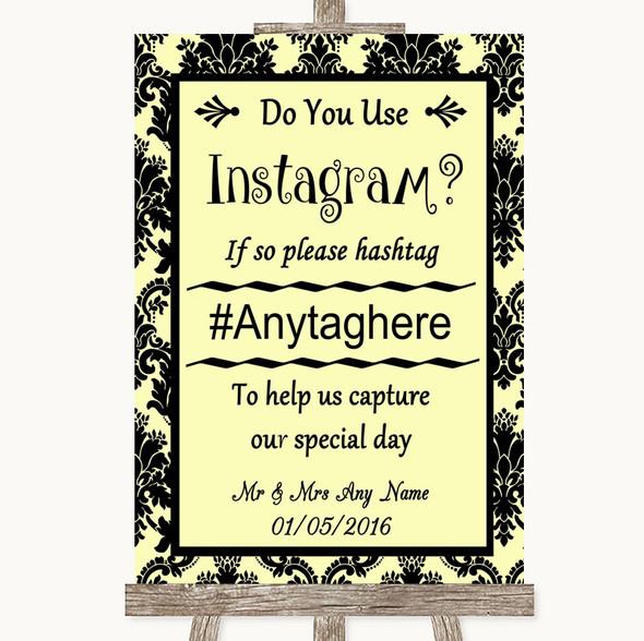 Yellow Damask Instagram Photo Sharing Personalised Wedding Sign