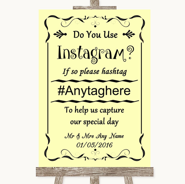 Yellow Instagram Photo Sharing Personalised Wedding Sign