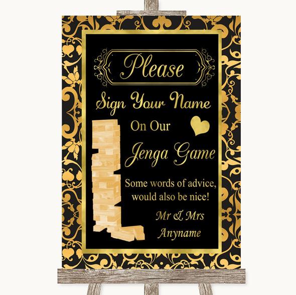 Black & Gold Damask Jenga Guest Book Personalised Wedding Sign
