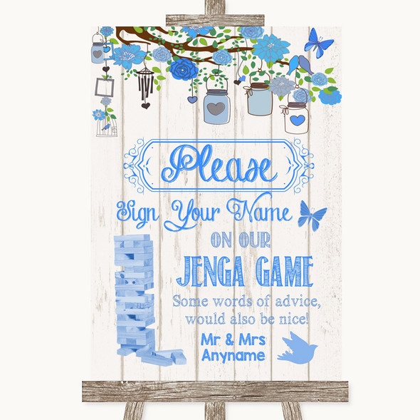 Blue Rustic Wood Jenga Guest Book Personalised Wedding Sign