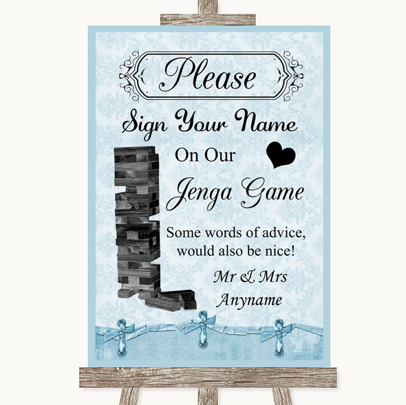 Blue Shabby Chic Jenga Guest Book Personalised Wedding Sign