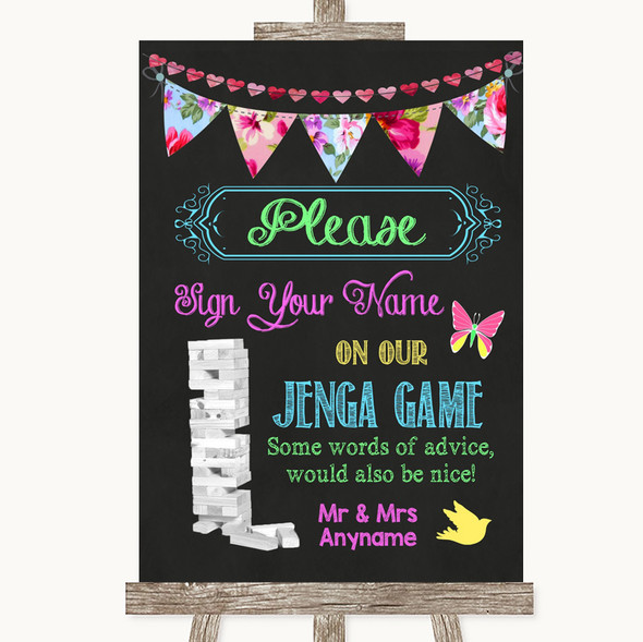 Bright Bunting Chalk Jenga Guest Book Personalised Wedding Sign