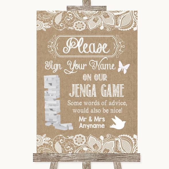 Burlap & Lace Jenga Guest Book Personalised Wedding Sign
