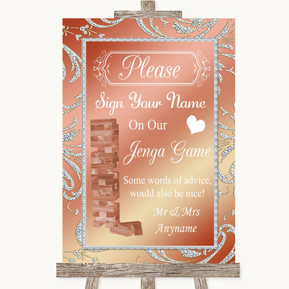 Coral Pink Jenga Guest Book Personalised Wedding Sign