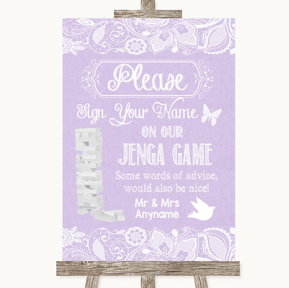 Lilac Burlap & Lace Jenga Guest Book Personalised Wedding Sign