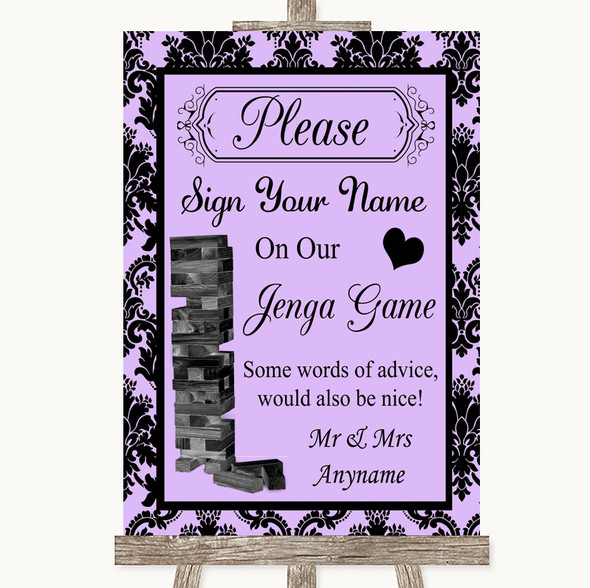 Lilac Damask Jenga Guest Book Personalised Wedding Sign