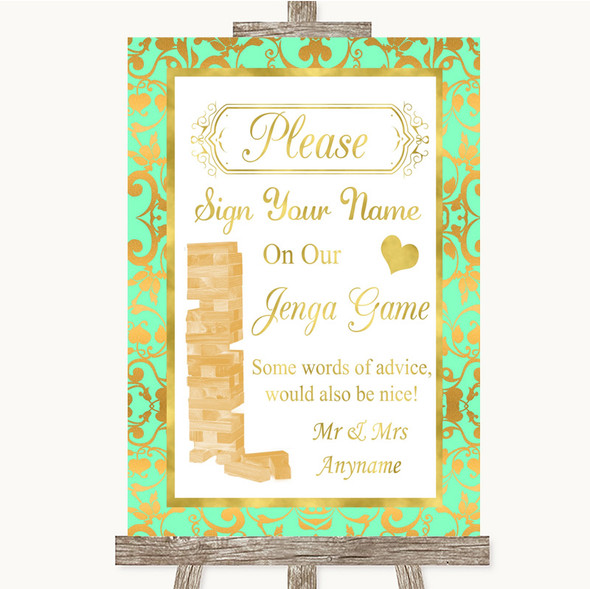 Mint Green & Gold Jenga Guest Book Personalised Wedding Sign