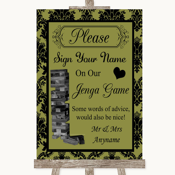 Olive Green Damask Jenga Guest Book Personalised Wedding Sign