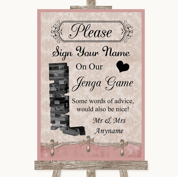 Pink Shabby Chic Jenga Guest Book Personalised Wedding Sign