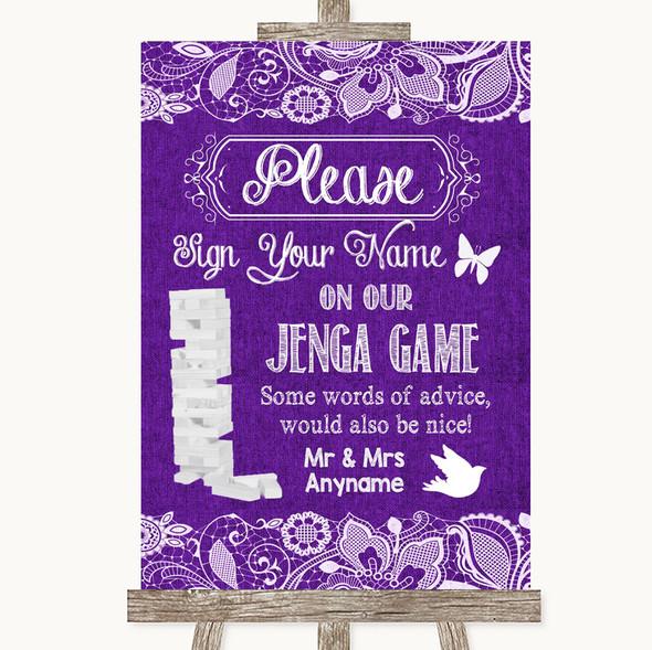 Purple Burlap & Lace Jenga Guest Book Personalised Wedding Sign