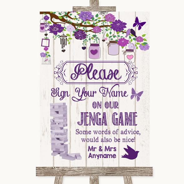 Purple Rustic Wood Jenga Guest Book Personalised Wedding Sign